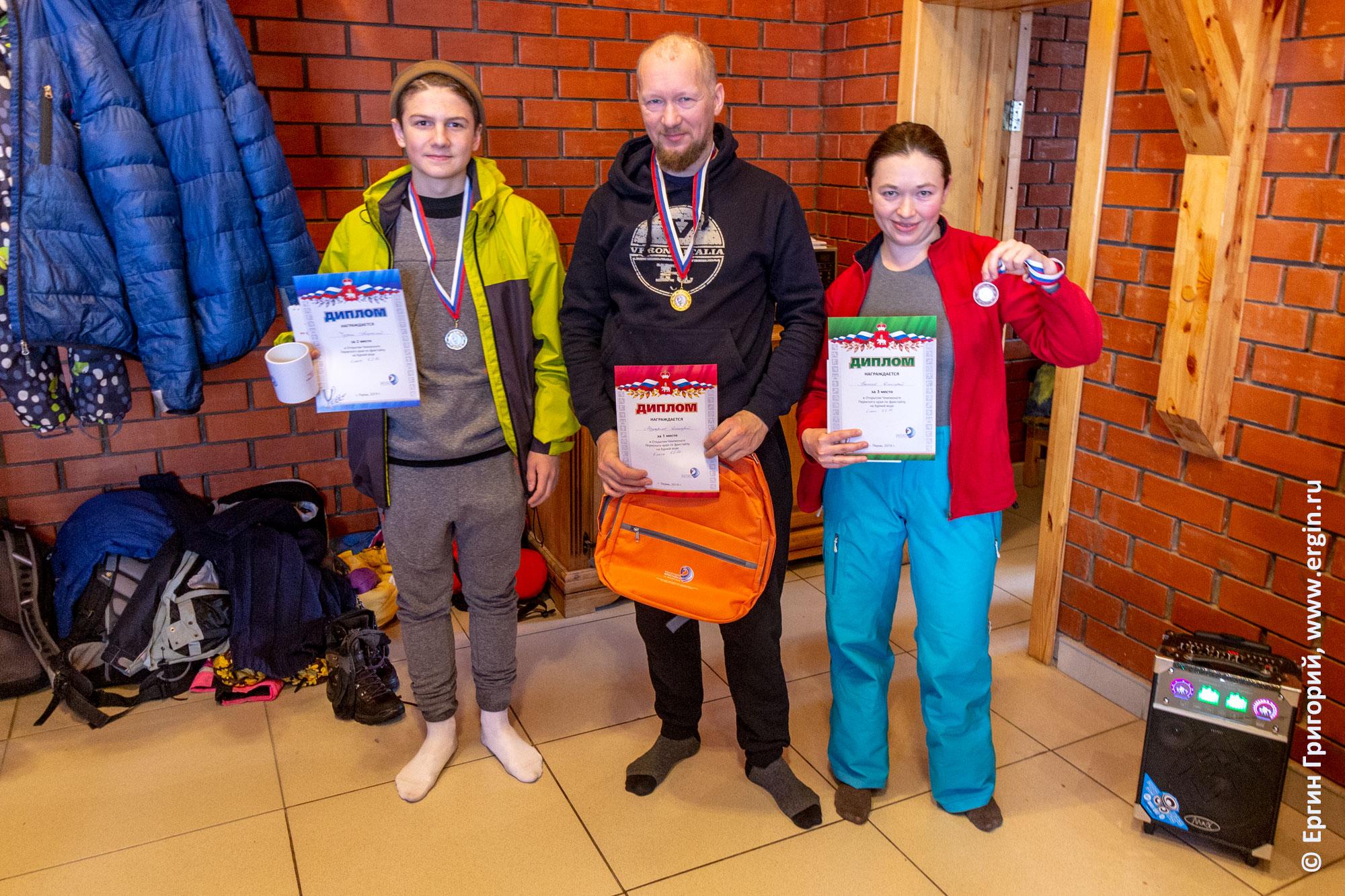 Победители Чемпионата Пермского края по фристайлу на бурной воде мужчины К1М