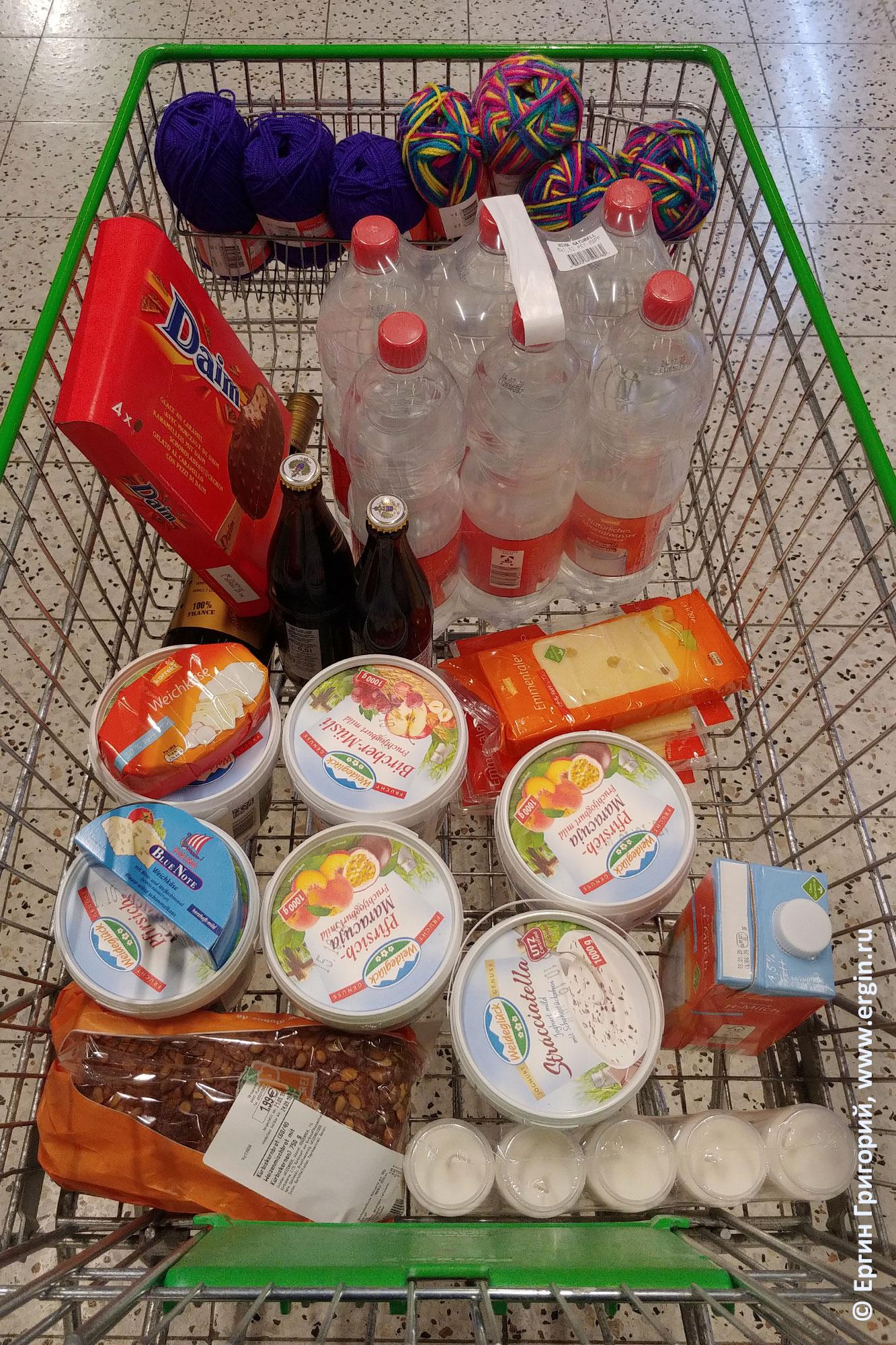 Покупки продуктов в германском супермаркете Глобус