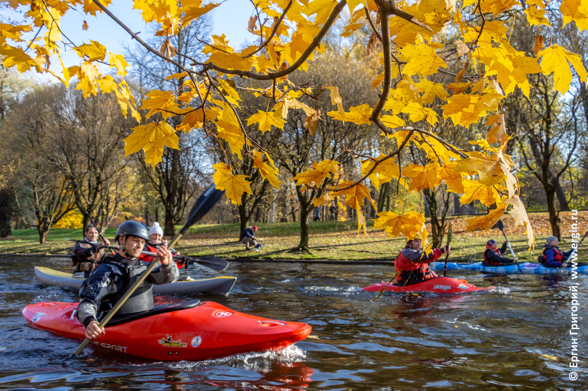 Каякеры проходят под желтой листвой деревьев в Санкт-Петербурге