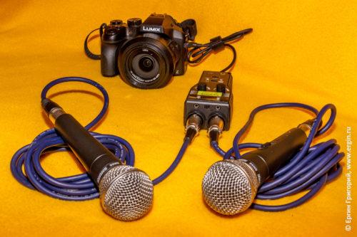 Подключение динамических вокальных микрофонов Shure SM58 к микрофонному входу фотоаппарата через микрофонный усилитель Saramonic-SmartRig+