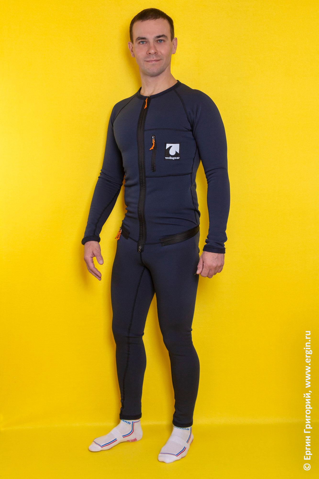 Термокомбинезон VodaGear для поддевания под сухой костюм каякера или сухую куртку со штанами