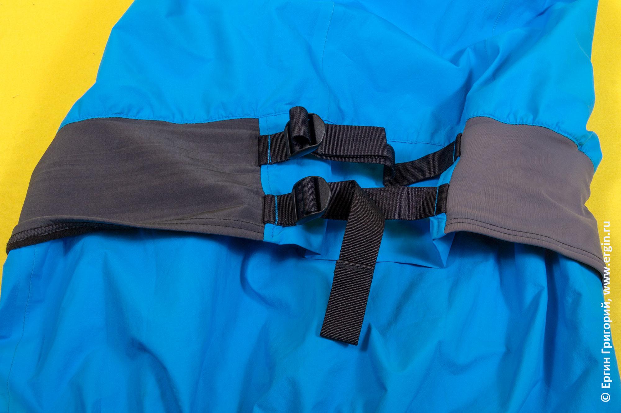 Фиксатор юбки на поясе драйтопа (сухой куртки) каякера