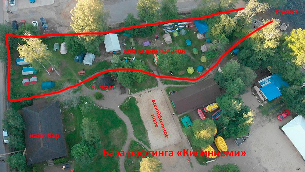 """Место для установки палаток на базе рафтинга """"Кивиниеми"""" в Лосево"""