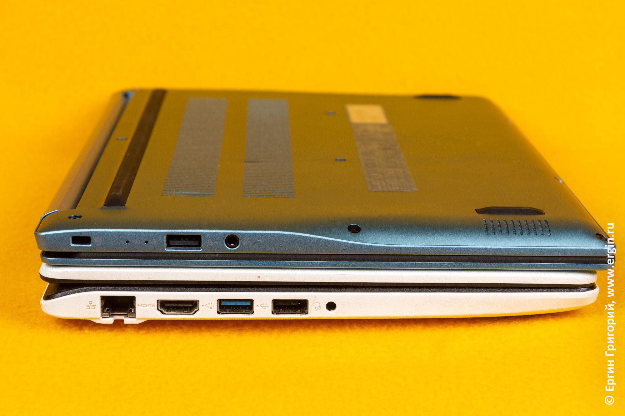 Количество разъемов на новом и старом ноутбуке ACER