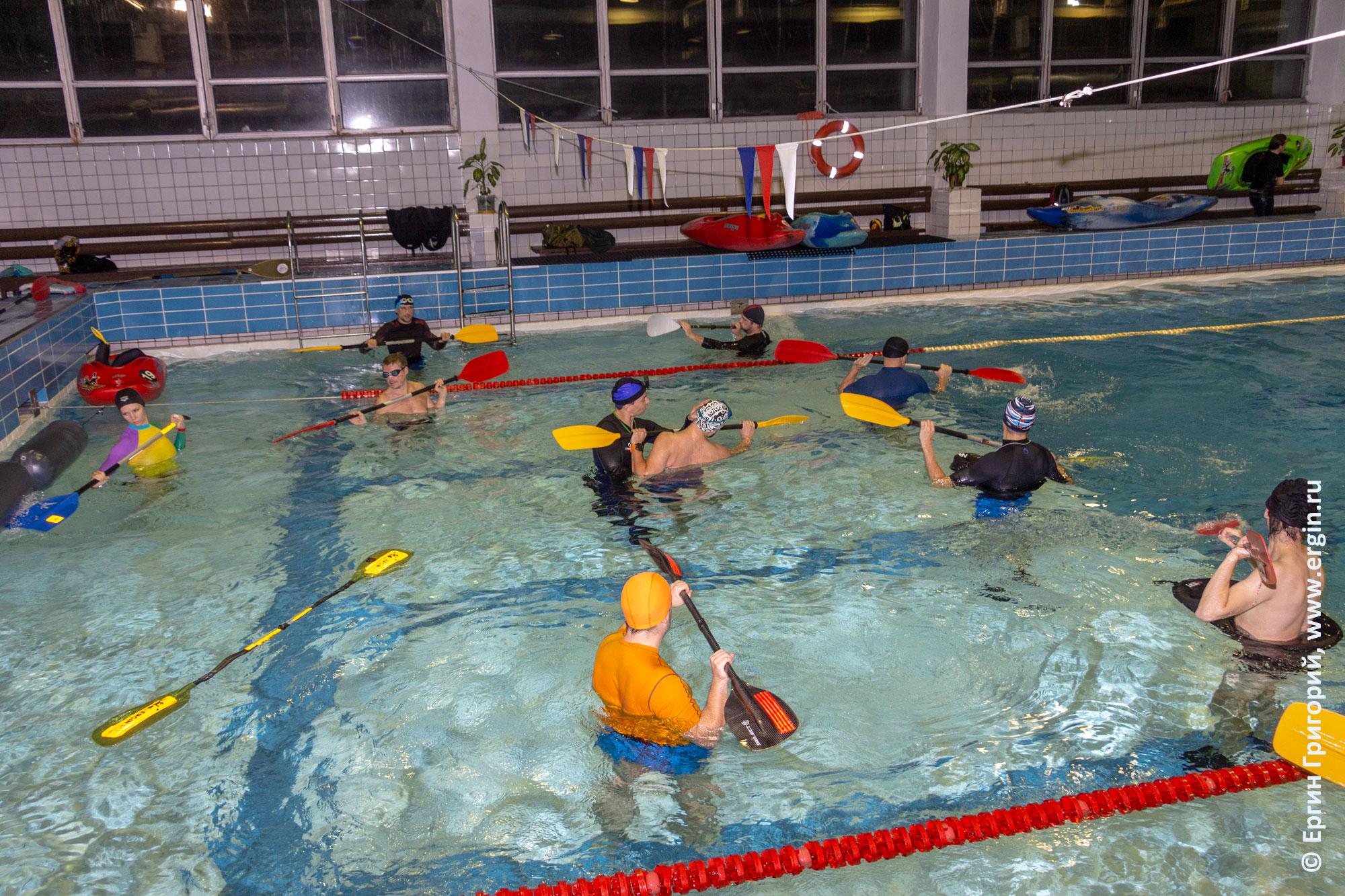 Упражнения для изучения опор веслом в воде без каяков