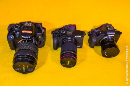 Фотоаппараты (слева направо) Canon EOS 700D, Canon EOS M6 Mark 2, Canon EOS M50