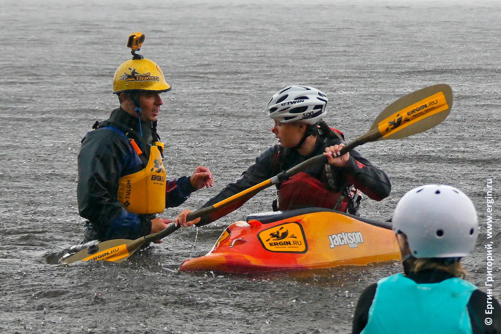 Тренировка на каяках в дождь