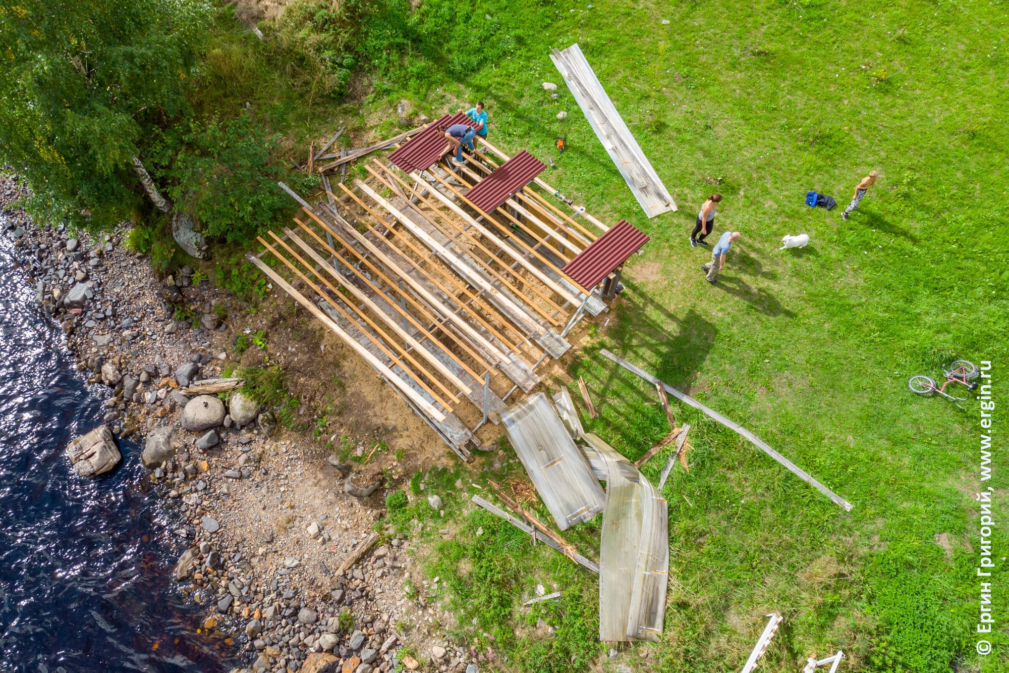 Реконструкция крыши трибуны на правом берегу Тивдийки