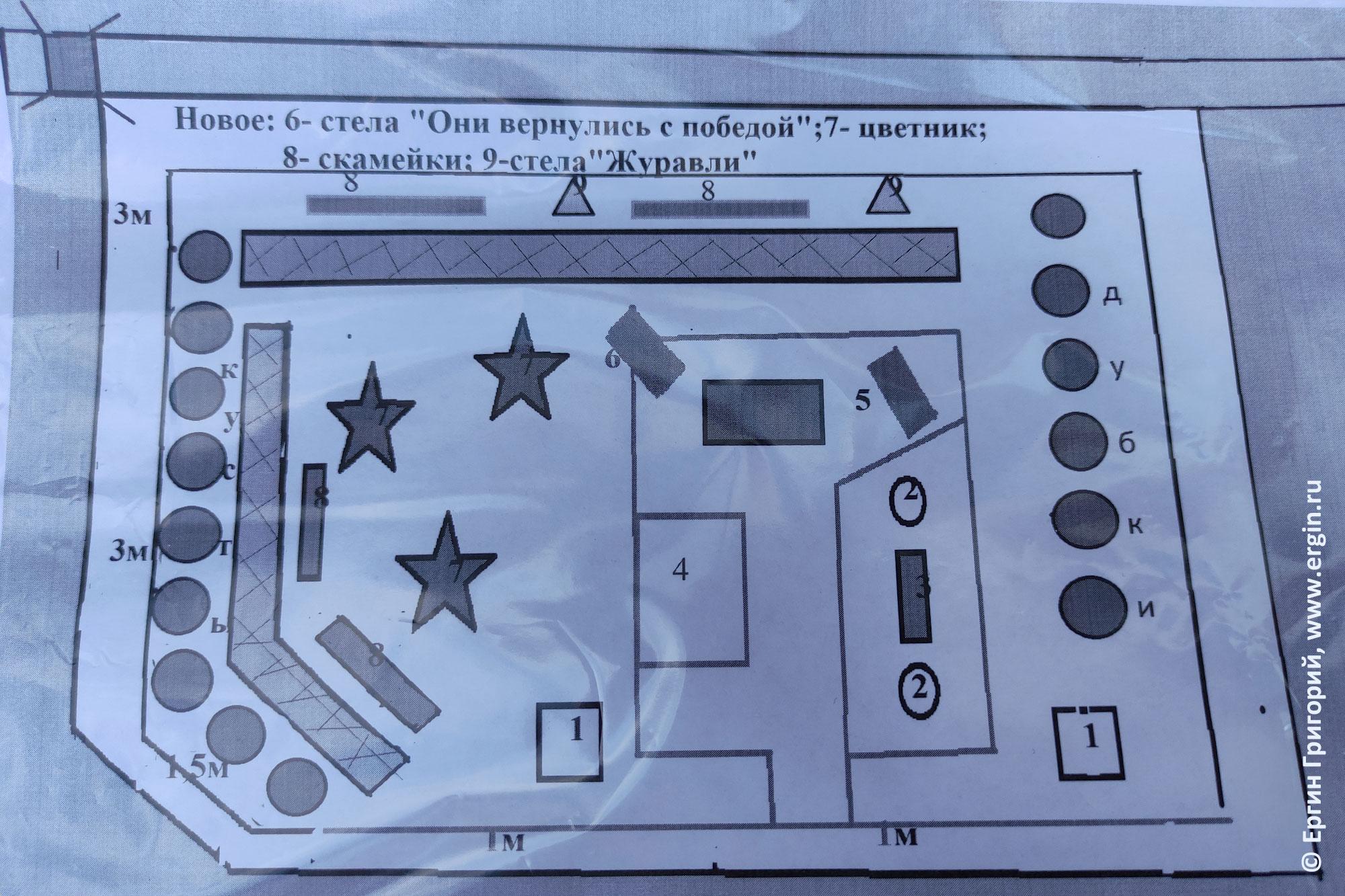 План парка памяти в Тивдии