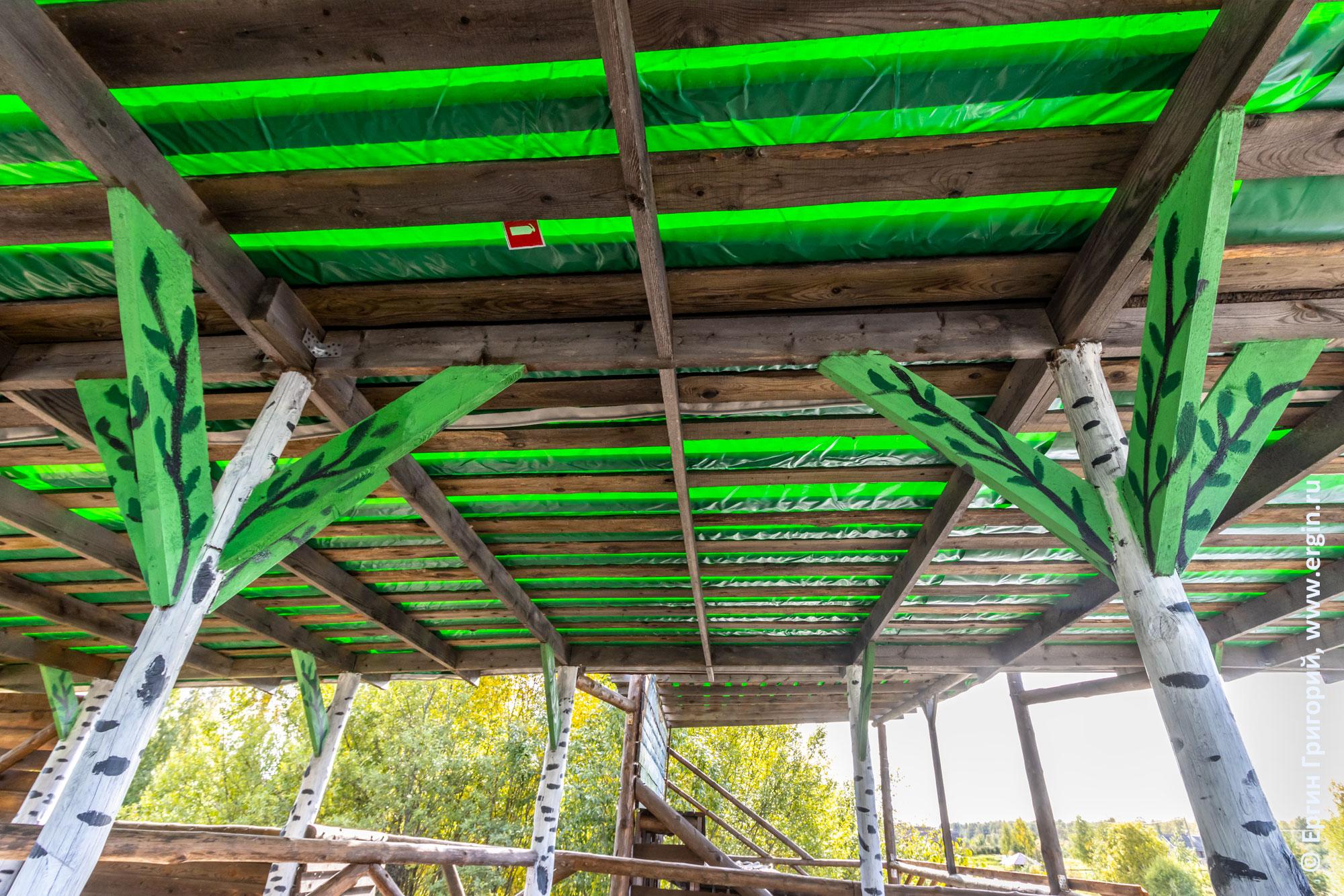 Дизайн крыши и столбов-подпорок у спортивных сооружений в Тивдии для соревнований по фристайл-каякингу